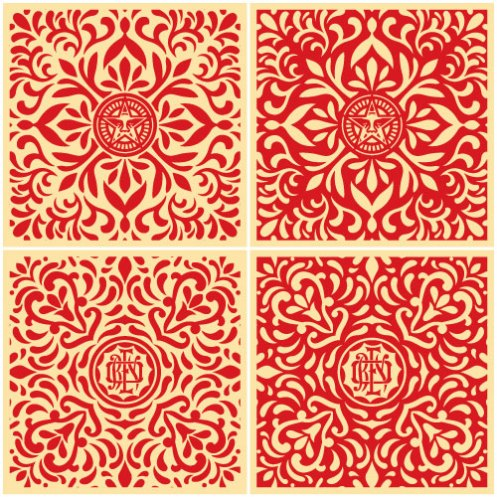 Obey Japanese Fabric Pattern Set Of 4 Prints $120 Each