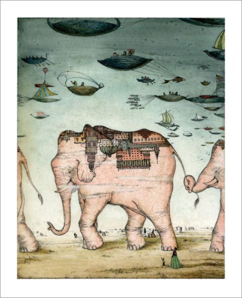 Andrea Offermann 'Pink Elephants' Edition of 100 Size: 13 x 16 Inches $45 Each
