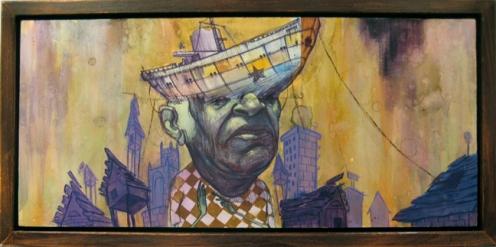 Ekundayo 'Vessel of Tenacity' 22 x 10 Inches Watercolor, Acrylic + Ink On Paper Mounted On Wood, $1500