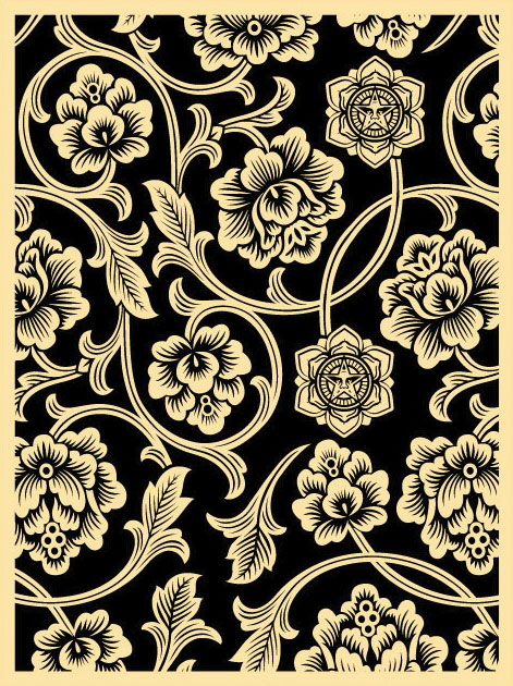 Obey 'Flower Vine' Black Edition of 100 Size: 18 x 24 Inches $45 Each