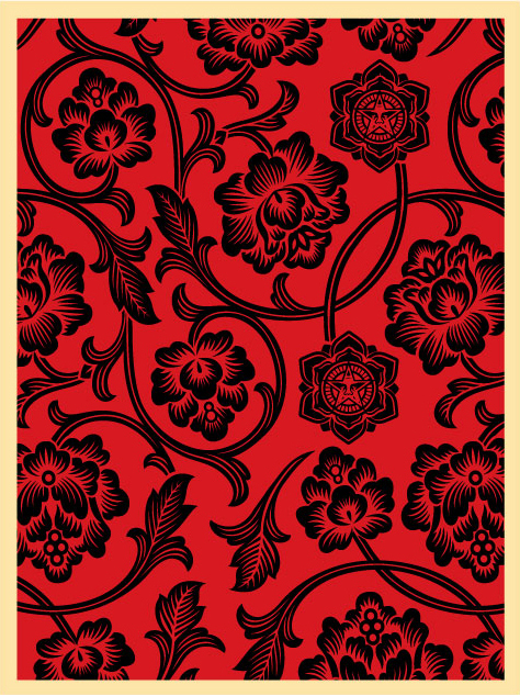 Obey 'Flower Vine' Black + Red Edition of 100 Size: 18 x 24 Inches $45 Each