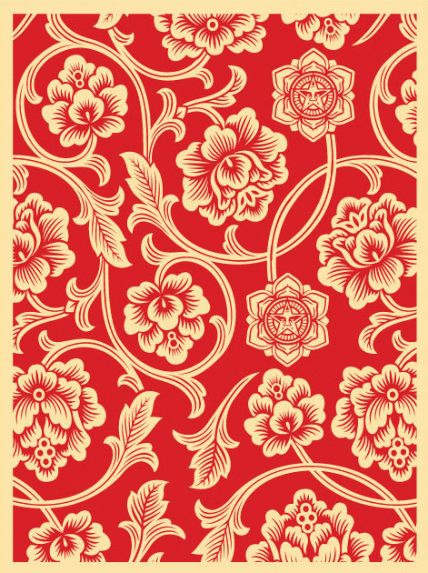Obey 'Flower Vine' Red Edition of 100 Size: 18 x 24 Inches $45 Each