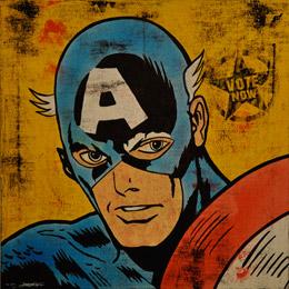 Jonathon Kimbrell 'Captain America Ain't Dead Yet! Vote!' Size: 61 x 61 cm £400