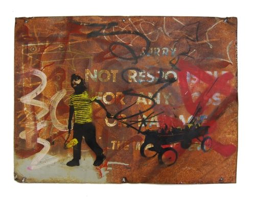 Bumblebee 'Just Beeing A Kid' Mixed Media on Found Metal 18 x 24 Inches $250