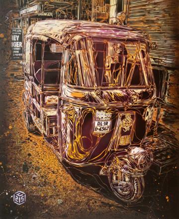 C215 'New Delhi Rickshaw' Stencil On Board Size: 50 x 61 cm £1200 Each