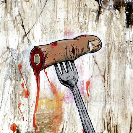 Famous When Dead 'Finger Food' Mixed Media On Canvas 12 x 12 Inches £60 Each