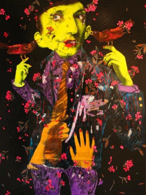 Judith Supine 'Self Portrait' Collage On Canvas Size: 91 x 121 cm