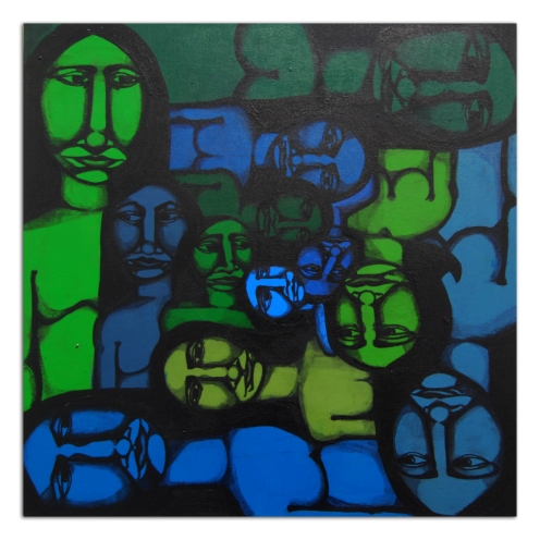 Labrona 'Tall To Small' Acrylic On Canvas Size: 24 x 24 Inches $2000