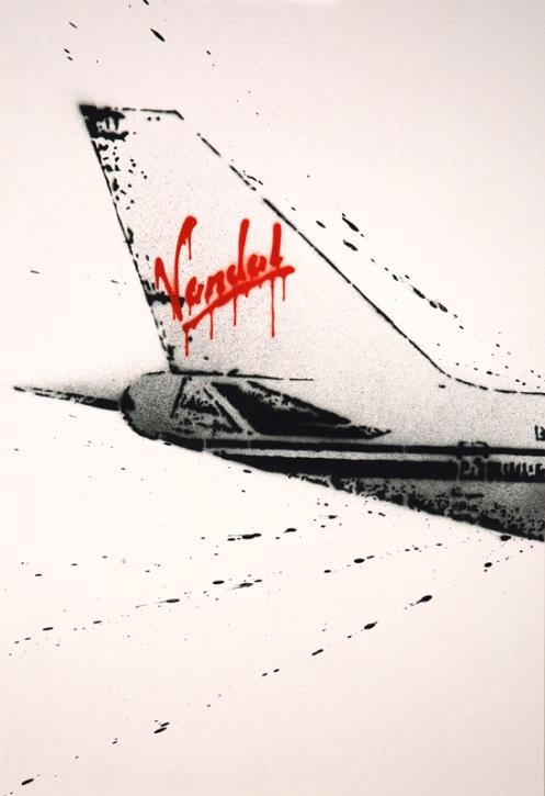 Nick Walker 'Vandal Airway Tail' Aersosol On Paper in John Jones Perspex Box Size: 40 x 58 cm £2750