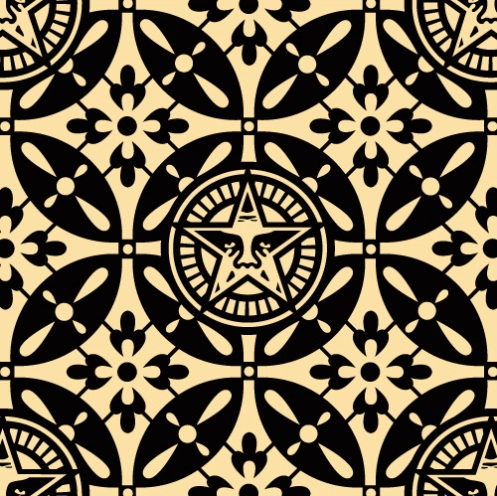 Obey 'Japanese Pattern 2' Black Edition of 75 Size: 18 x 18 Inches
