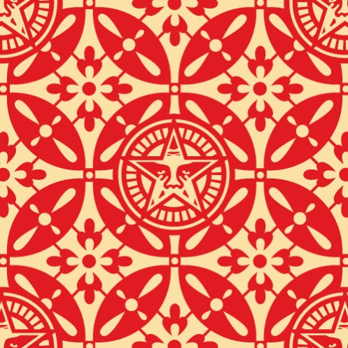 Obey 'Japanese Pattern 2' Red Edition of 75 Size: 18 x 18 Inches