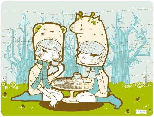 Julie West 'Bear Giraffe Tea Party' Size: 14 x 11 Inches $75 Each