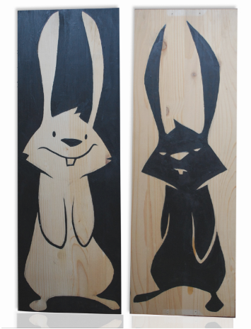 Philip Lumbang 'Bunnies' On Wood Size: 9.5 x 27.5 Inches $500/Set