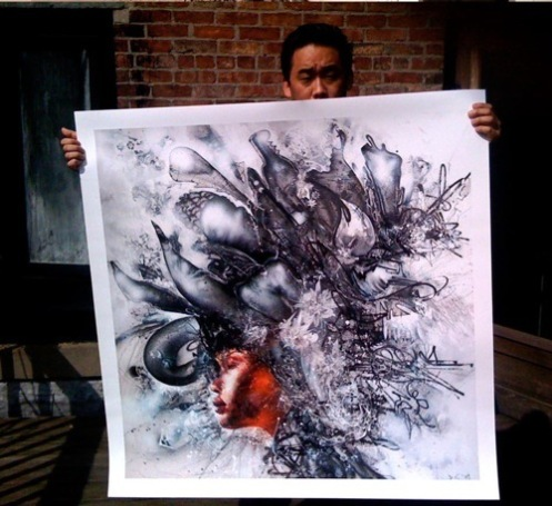 David Choe 'Death Blossom' Print Preview