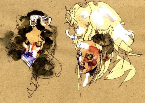 David Choe Train Sketch Brunette + Blonde