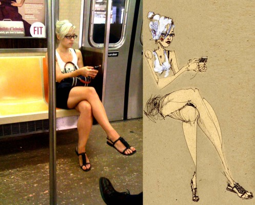 David Choe Train Sketch Blonde With Glasses