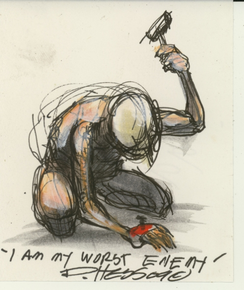 Derek Hess 'I Am My Worst Enemy' Original Size: 3.1 x 3.7 Inches