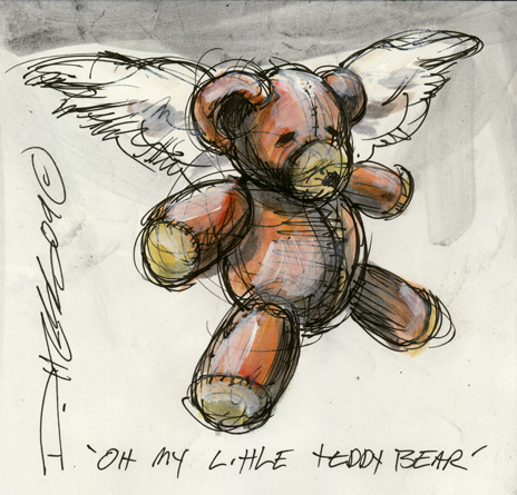 Derek Hess 'Oh My Little Teddy Bear' Original Size: 6.6 x 6.3 Inches