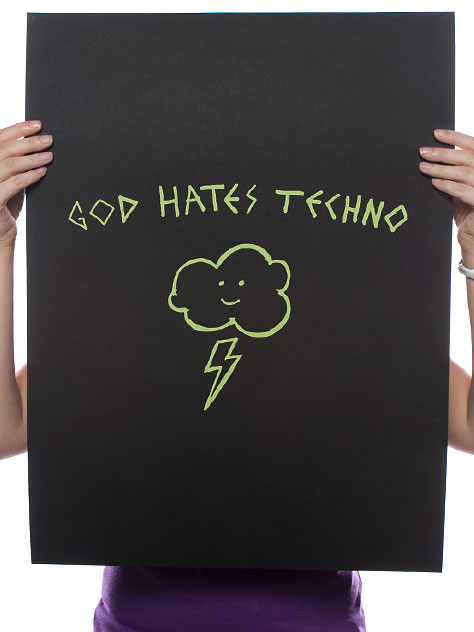 Threadless 'God Hates Techno' Edition of 250 Size: 18 x 24 Inches $10 Each