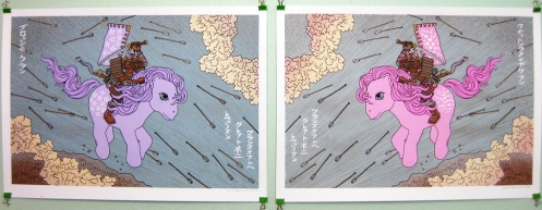 Jacob Borshard 'Clans Of The Great Pony Rebellion' Diptych Edition of 40 Size: 25 x 18 Inches $35 Each