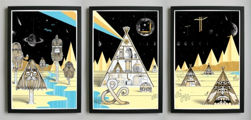 Steven Harrington 'Our Mountain' Triptych Edition of 300 Size: 18 x 24 Inches $300 Each